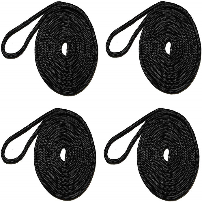 4 Pack 15' Premium Double Braided Nylon Dock Line/Mooring Lines with 12