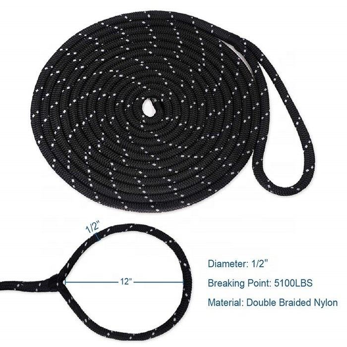 braid on braid marine water rope,double braided nylon dock line