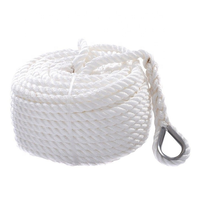 3 strand twisted white nylon material anchor rope with stainless steel thimble for ship