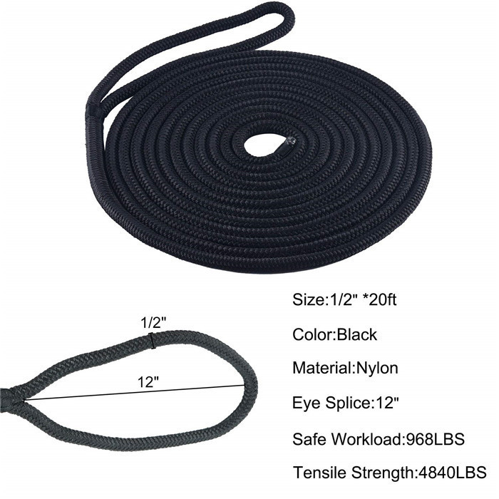 3/8 Inch 15 FT Double Braid Nylon Dock line,Mooring Rope Double Braided Dock Line