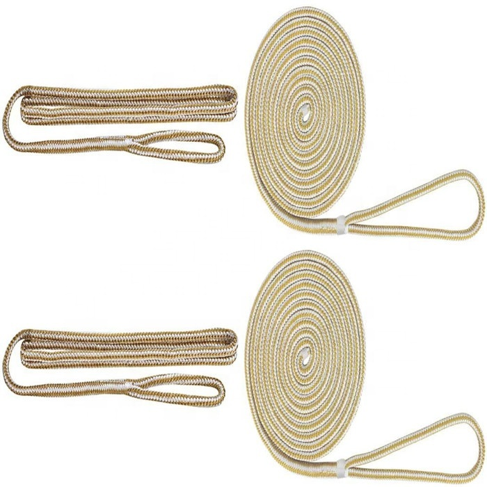 set of two marine double braided nylon dock lines for boat