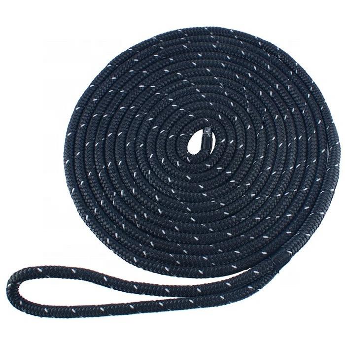 premium nylon double braided reflective dock line 3/8x15ft
