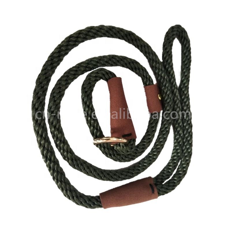 Customized Solid Braided Pet Dog Rope Adjustable Slip Lead Dog Leash