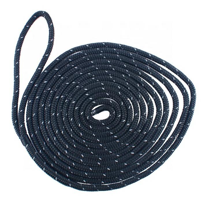 professional reflective marine yacht rope, 3/8x15feet double braided nylon dock line