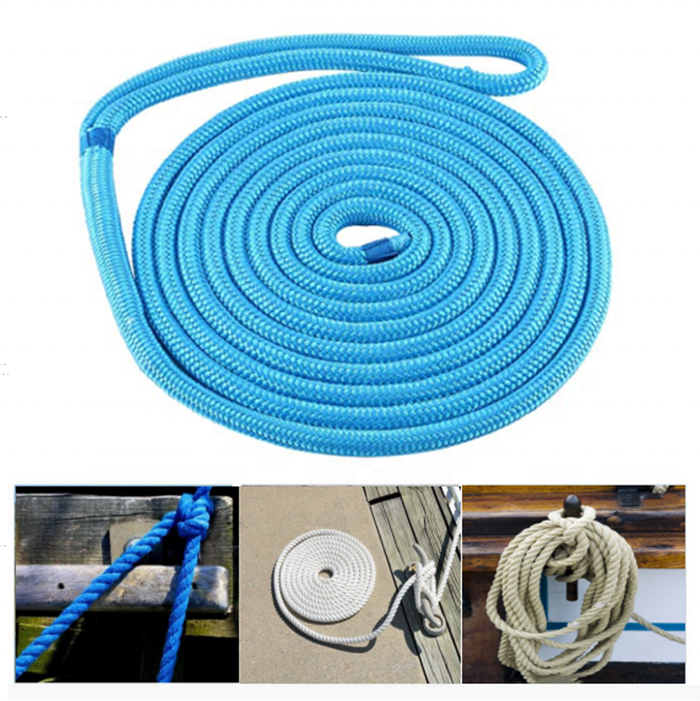 3/8 x 15' Blue Dock Line,double braid ROPE