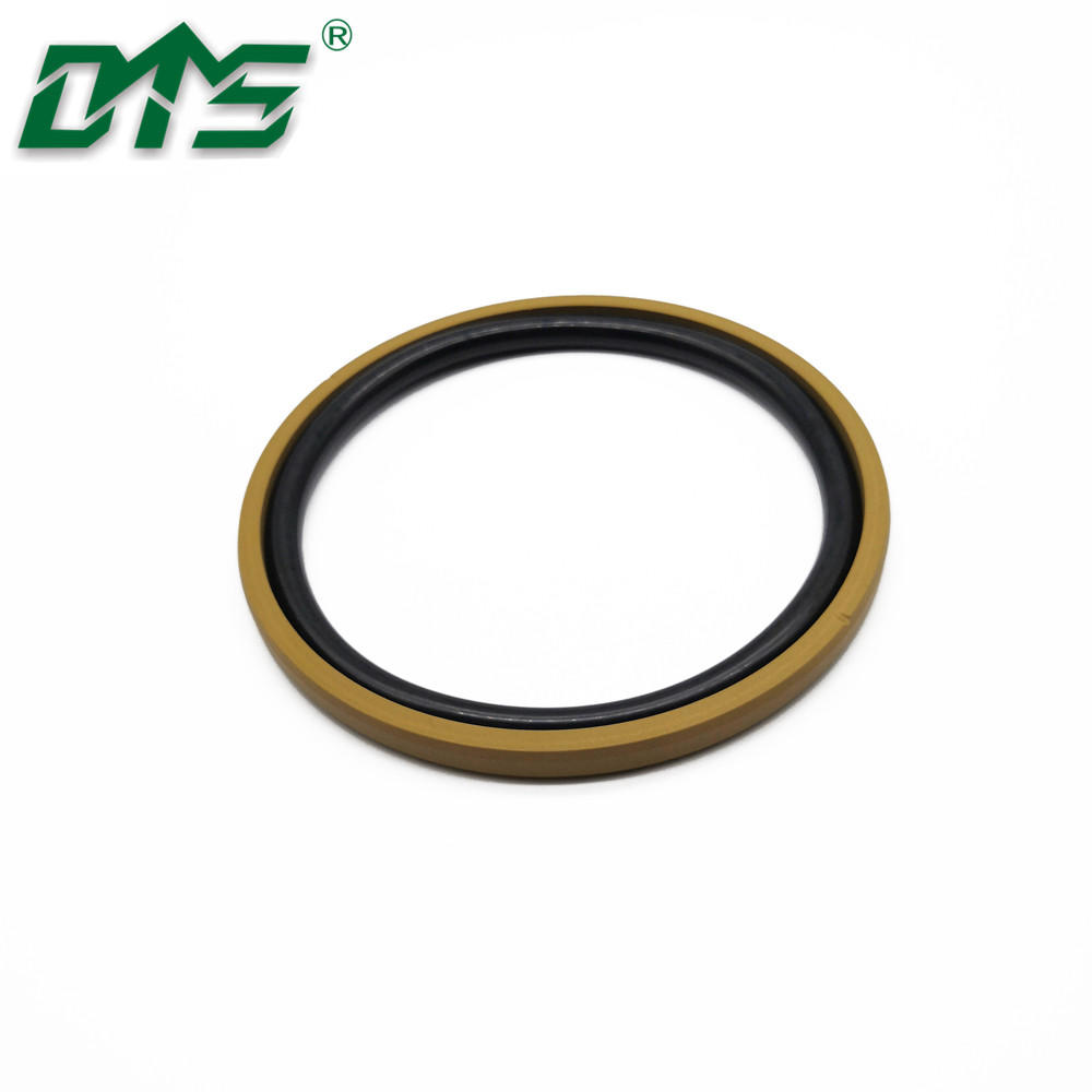 Yellow Color Bronze PTFESPGO Seals With Inclined Cut Grooves for Excavator Hydraulic Cylinder