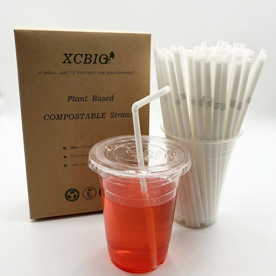 CPLA Plant Based 100%Biodegradable Compostable White curved Drinking Straw