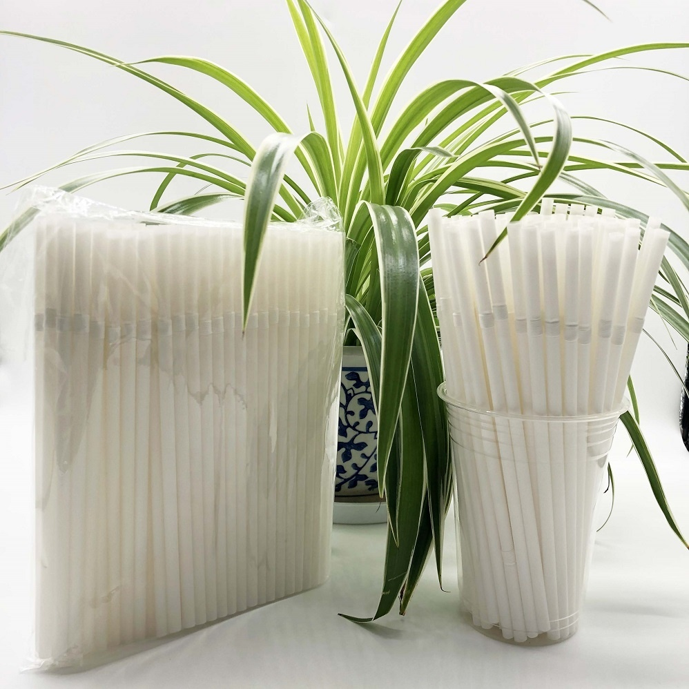 White Compostable Straight Biodegradable DisposablePLA Drinking Straw
