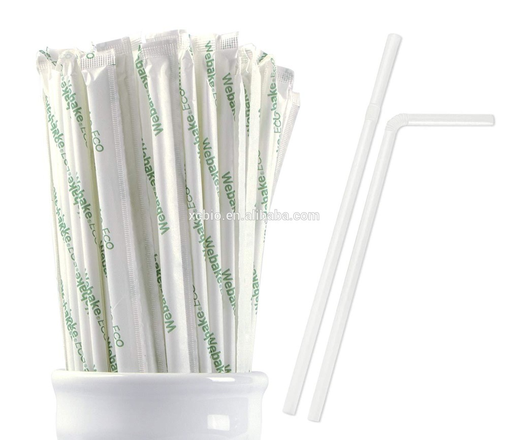 100% biodegradable curved plant based compostable drinking straw with customized wraps and box