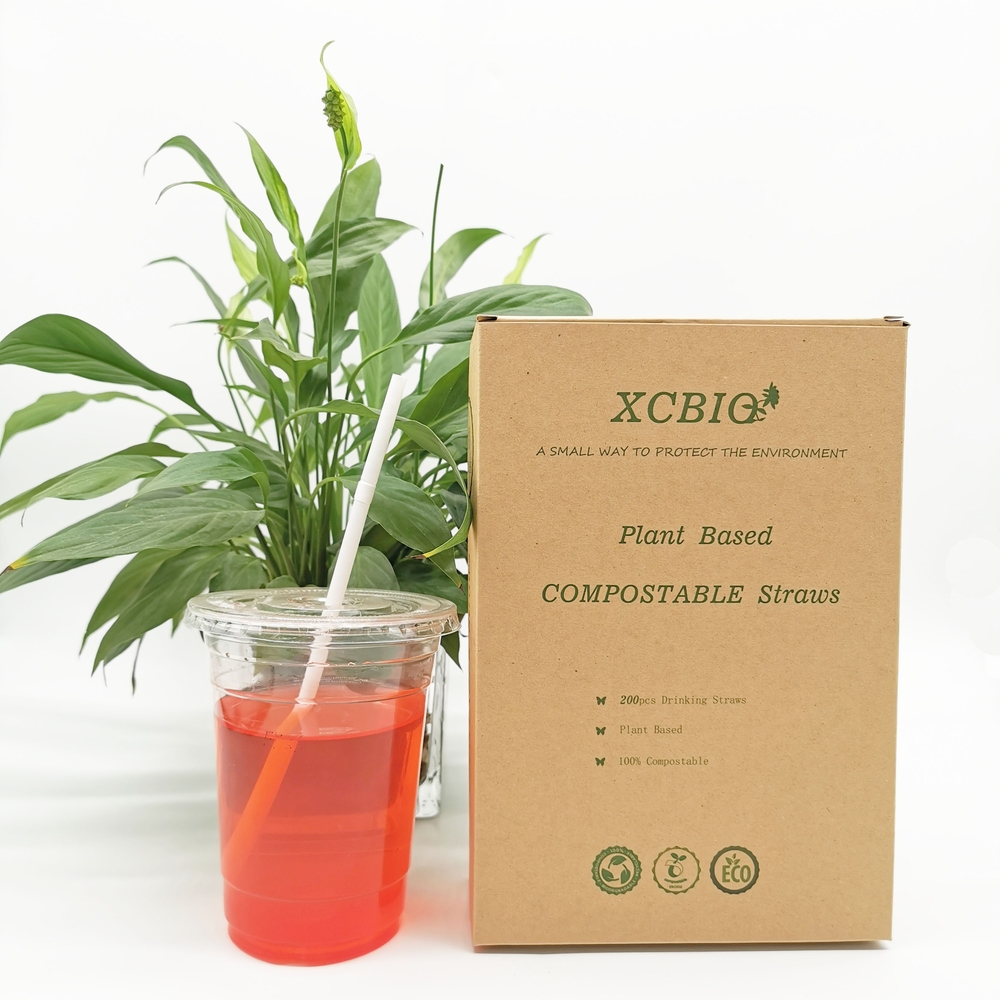 Disposable Plant Based 100%Biodegradable Compostable white Curved Drinking Straw