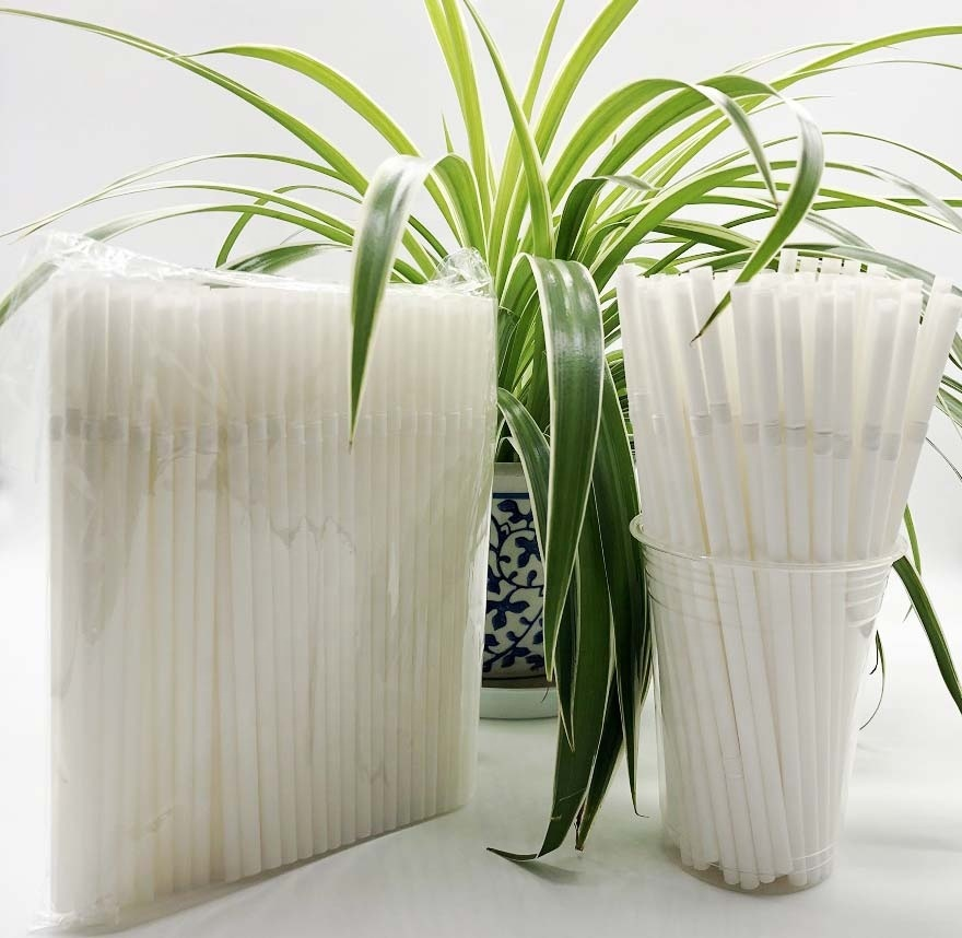 100%Biodegradable Plant Based Compostable white Curved Drinking Straw