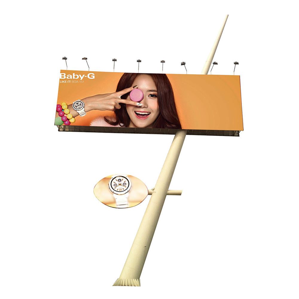 Customized outdoor V shaped steel material billboard structure