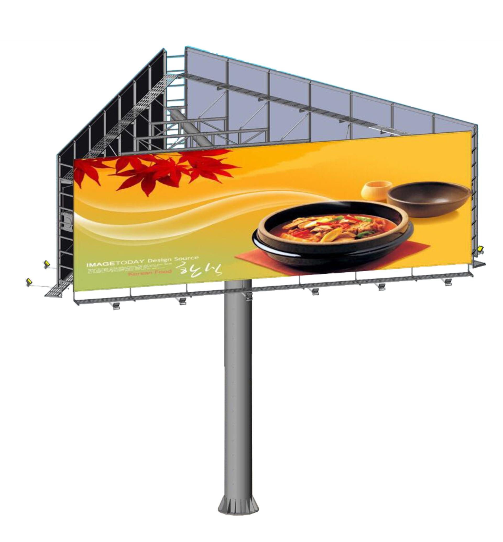 Outdoor advertising equipment furniture three side billboard for sale