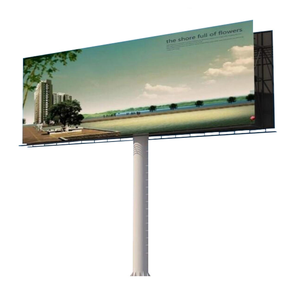 Unipole outdoor steel structure advertising billboard material