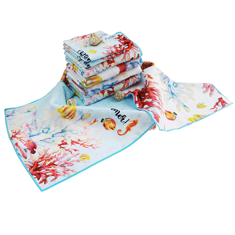 Custom 100% Cotton Double Sided Digital Printingface Towel Soft Quick-drying Cottonprinted towel