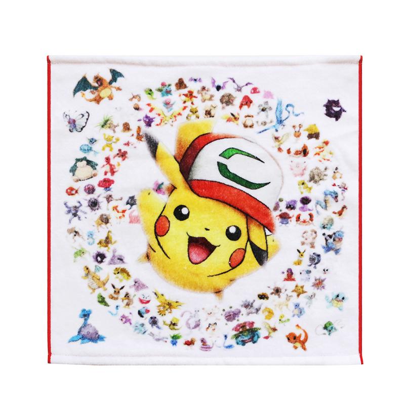 Custom 100% cotton Pikachu printed hand towels for Kids cartoon personalized towel