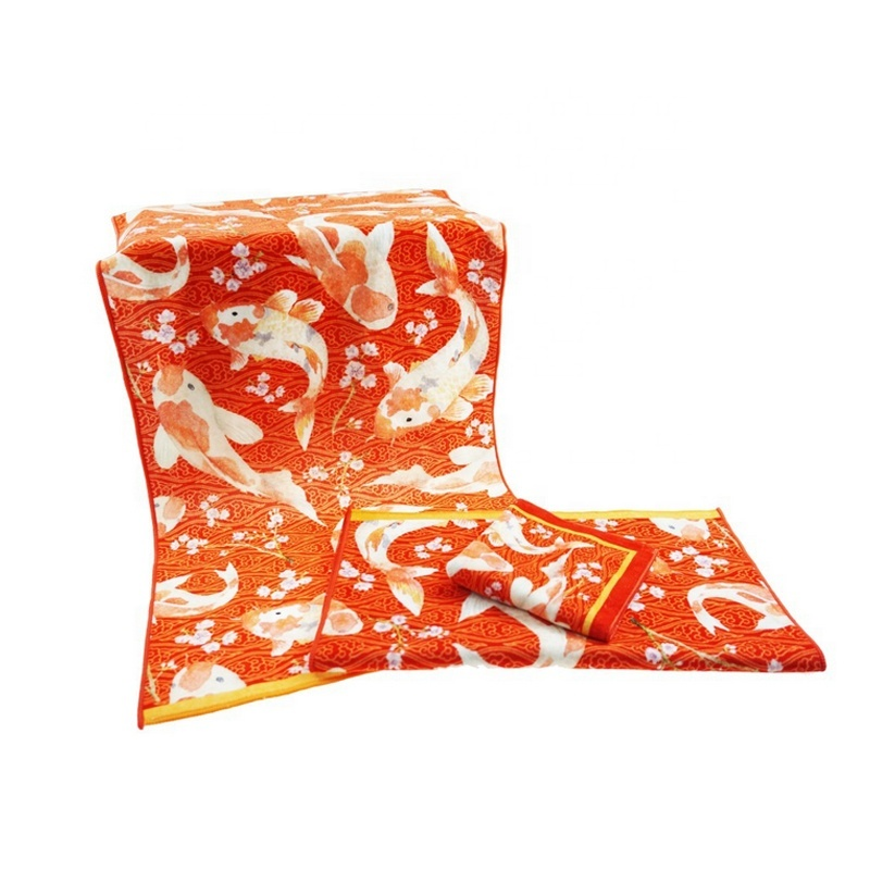 OEM/ODM Chinese Style Custom Logo Organic Cotton Large Beach Towel Fish Bath Towel