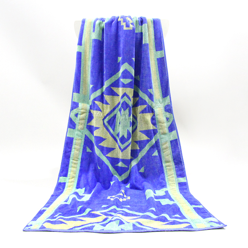 Free Sample Custom Cotton Velour Jacquard Beach Towel velour beach towel