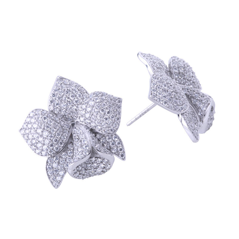 Full pave cz wholesale silver stud cheap earrings made in china