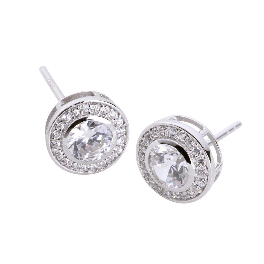 Fashion cubic zircon plain sterling silver round earrings