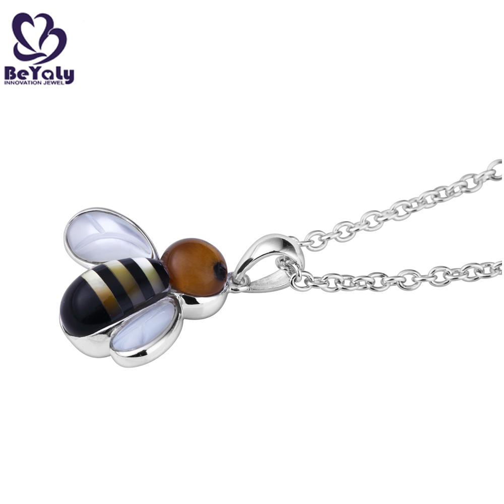 Bee shape shell silver personalized jewelry funny necklace