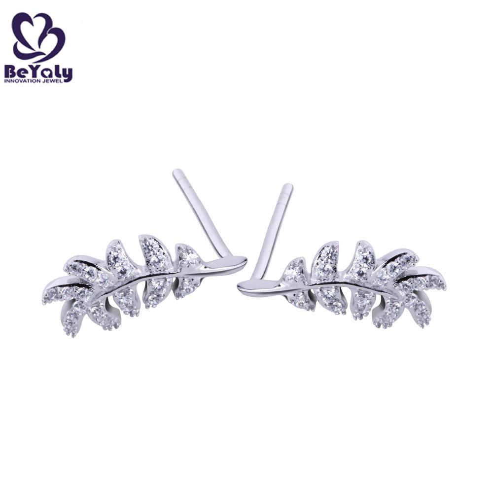 Leaf design cz 925 silver earrings jewelry wholesale