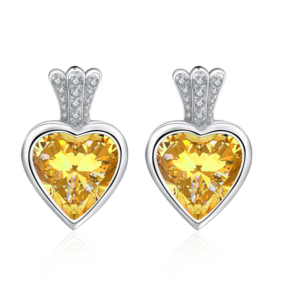 Custom design 925 silver cz heart girls earrings