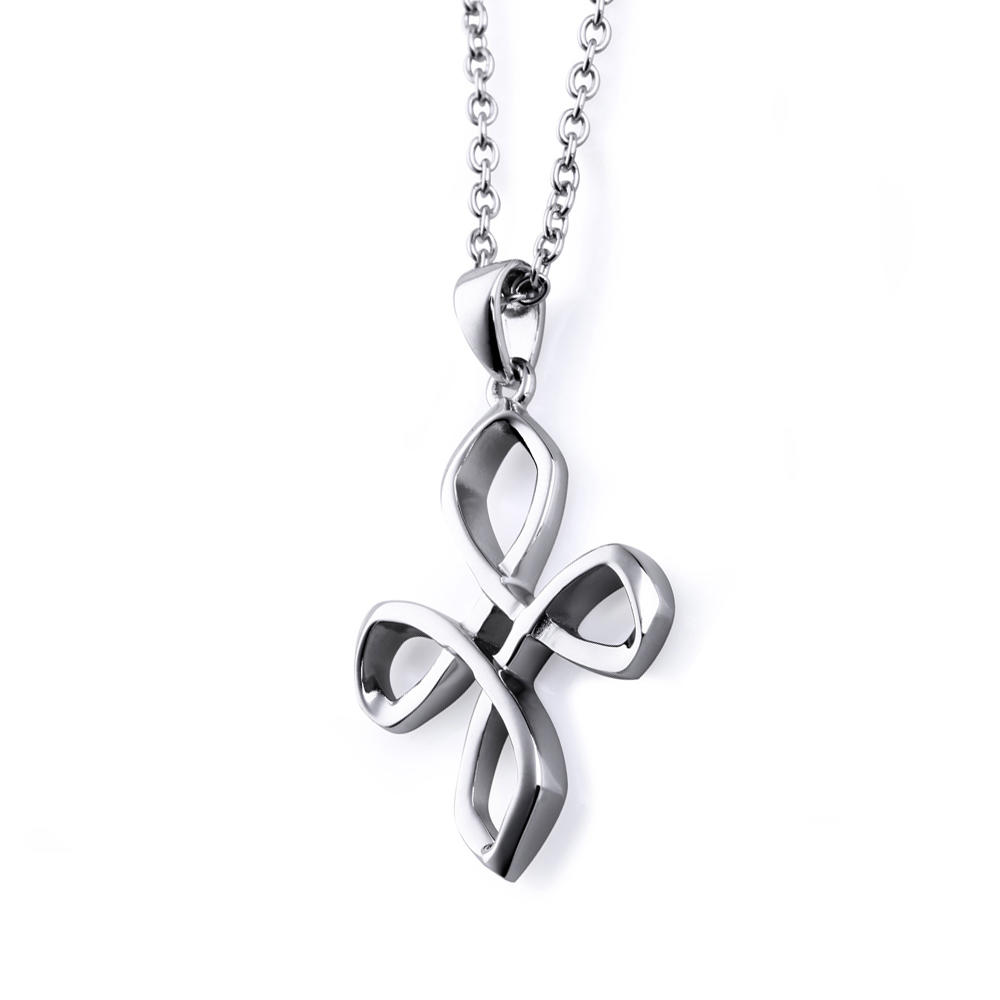 925 Silver Hollow Knot Cross Design Charms Pendants