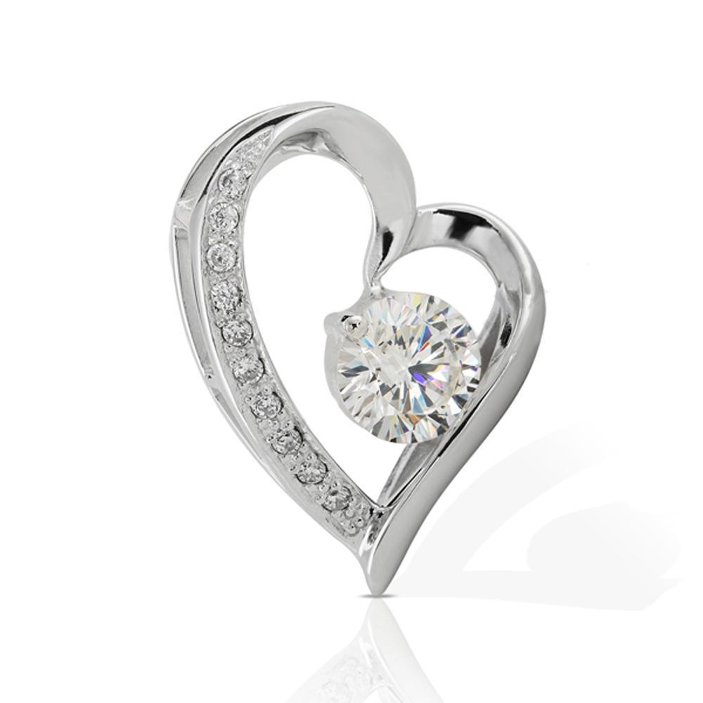 New Model Silver Cubic Zircon Heart Charms Bulk
