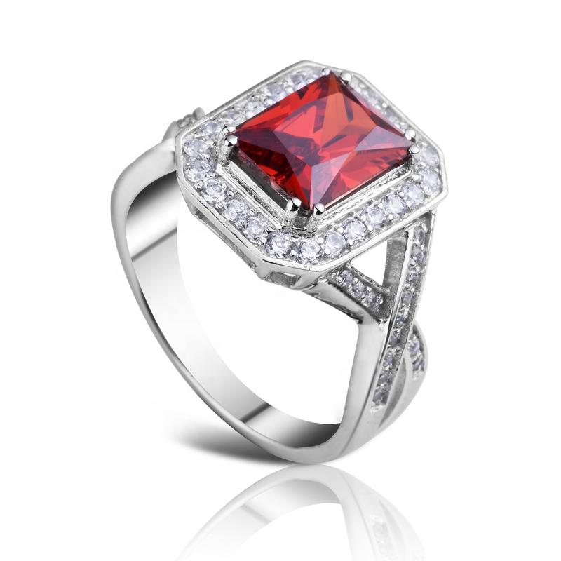 Rhodium plating red stone square lots sterling silver rings
