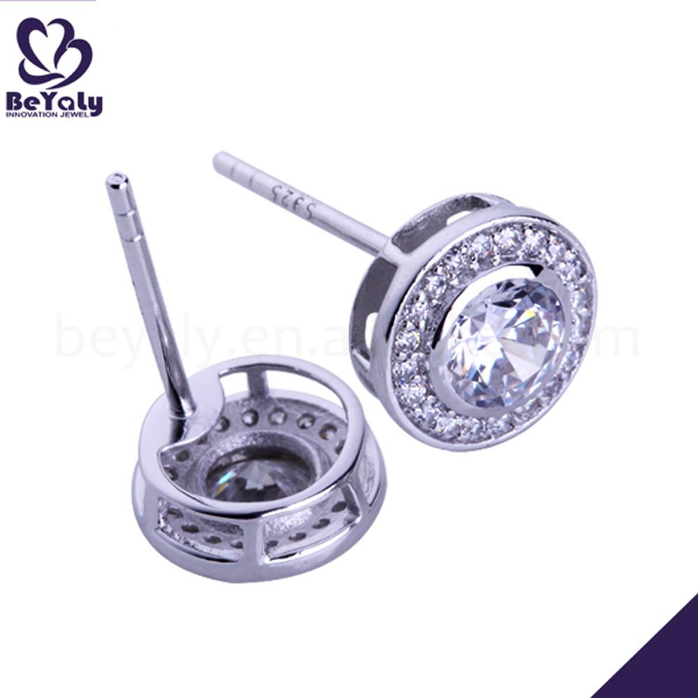 Fashion cubic zircon plain sterling silver round earrings