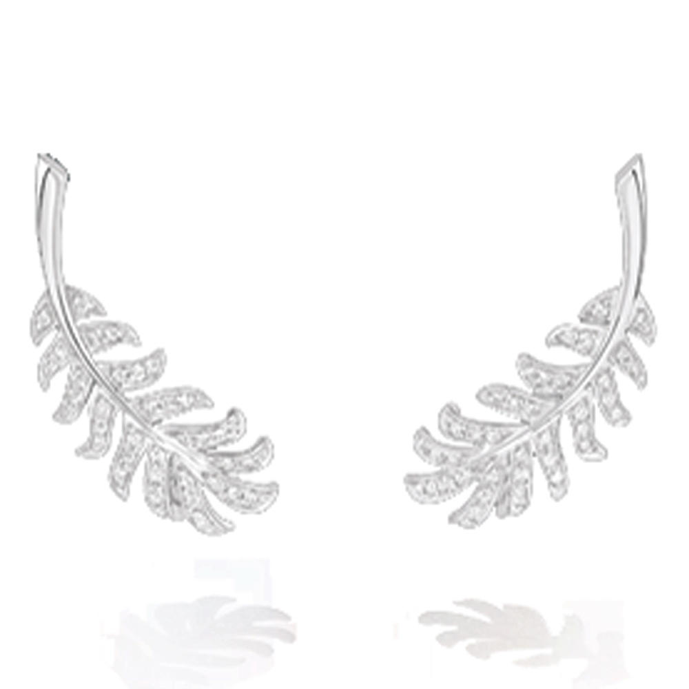 Leaf design cz 925 silver earrings jewelry wholesale