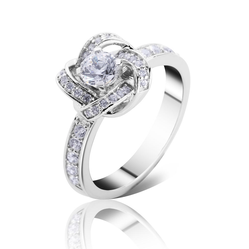 Wholesale 925 Silver Ring With Clear Zircon Made In China