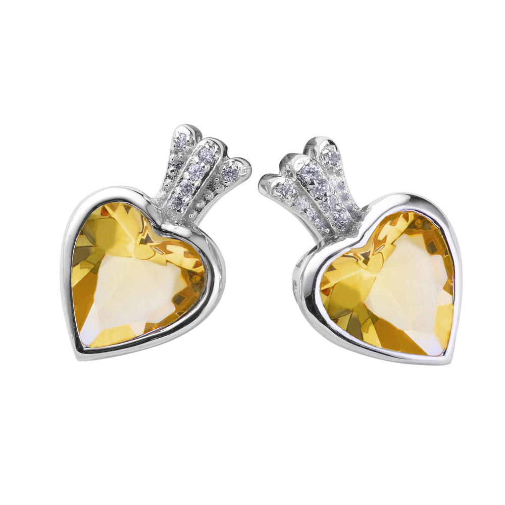 Yellow stone heart silver couple pair earrings