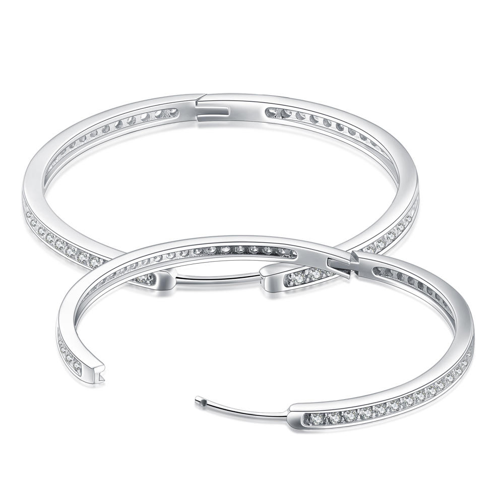 Big Size Latest Trends Silver New Model Cz Earrings Hoop