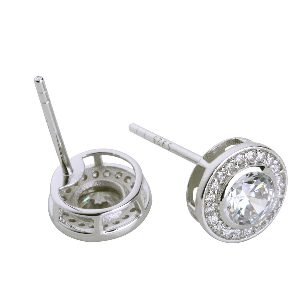 Christmas Stock 925 Sterling Silver Cz Studs Earrings