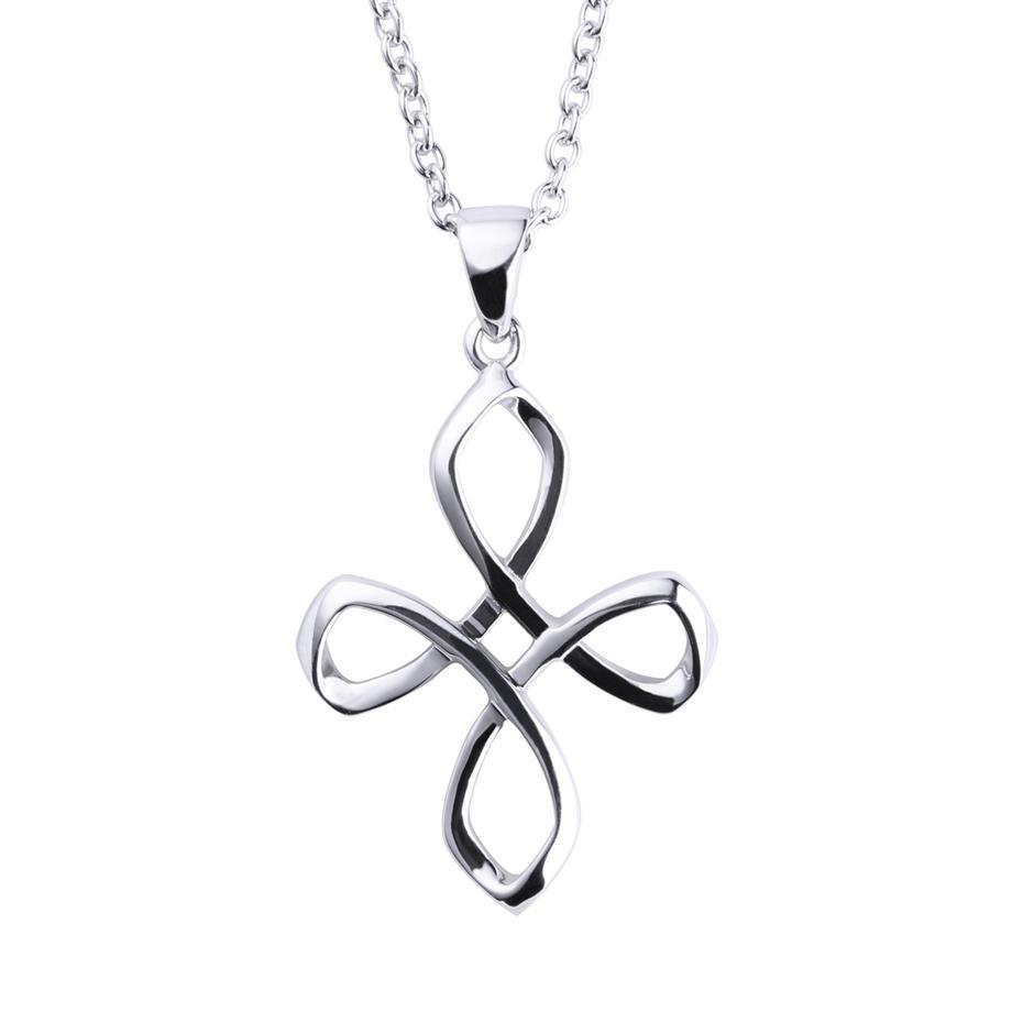 925 Silver Hollow Knot Cross Design Charms Pendants