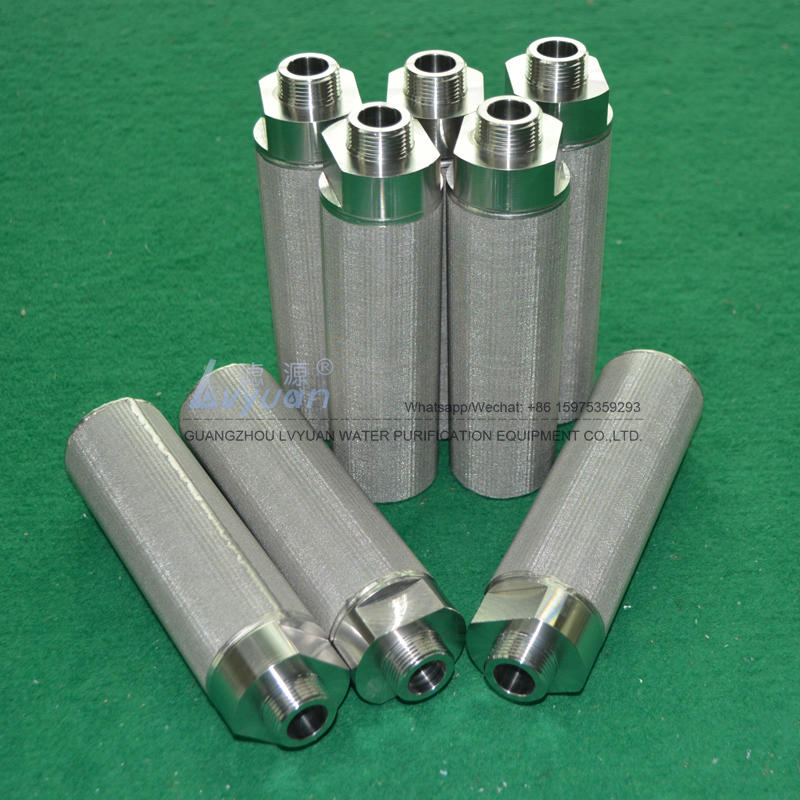 High purity SUS304 316L 50 100 microns stainless steel sinter cylinder filter for SS water cartridge filter type housing