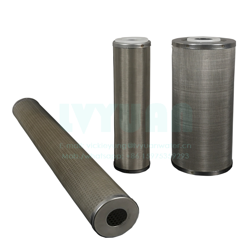10 20 inch SS304 316L wire mesh liquid cartridge filter ss sintered filter cartridge for 20 50 microns water oil filtration