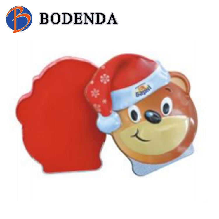 packaging candy round tin,metal box for candy,bear shaped irregular candy tin can