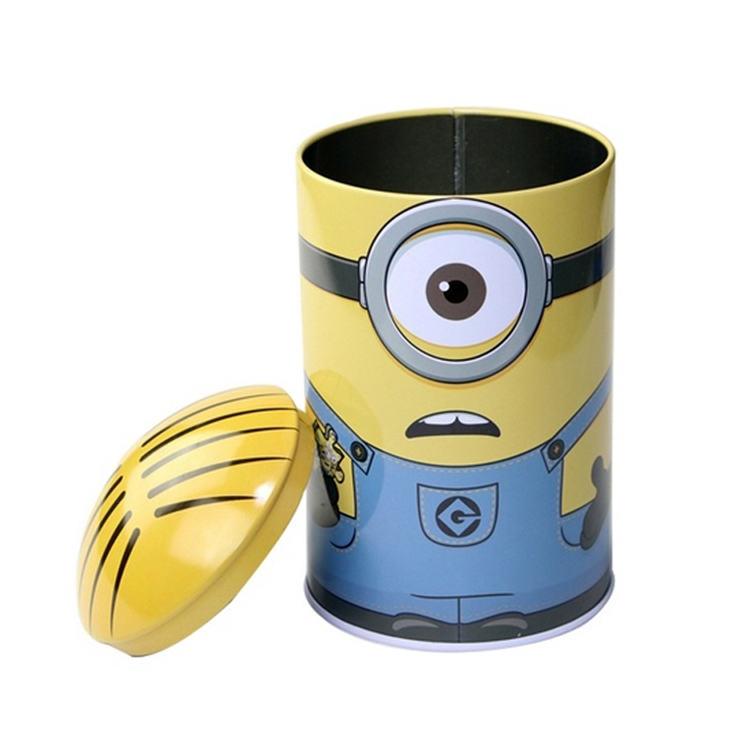 Cartoon Minions Pattern Bullet Shape Kids Candy Jar Metal Sugar Packaging Box