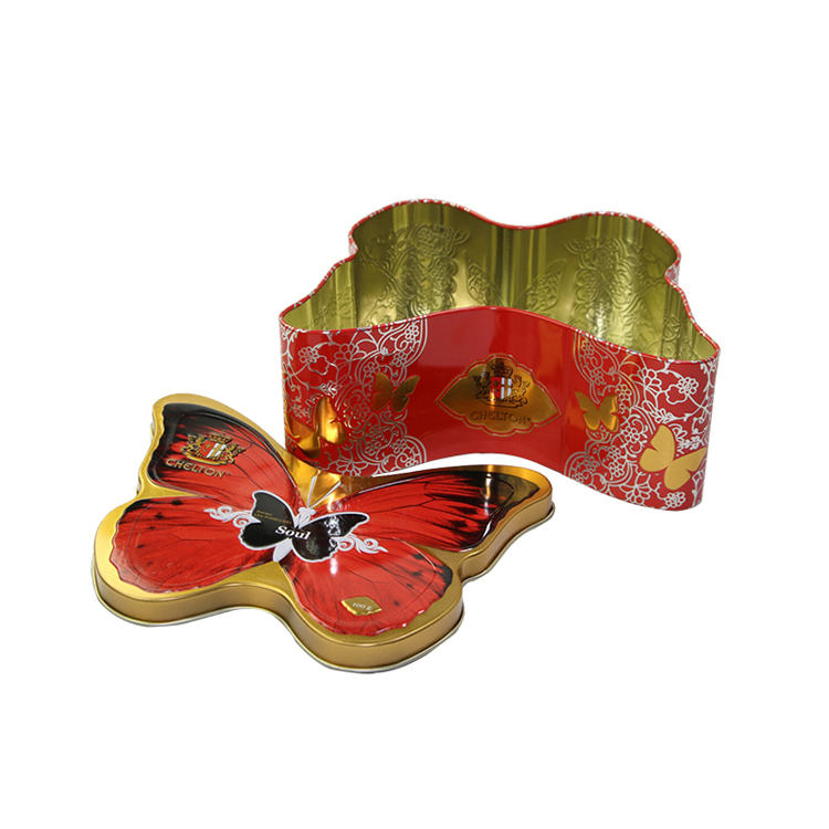 Beatiful butterfly packaging box candy tin box snack storage container