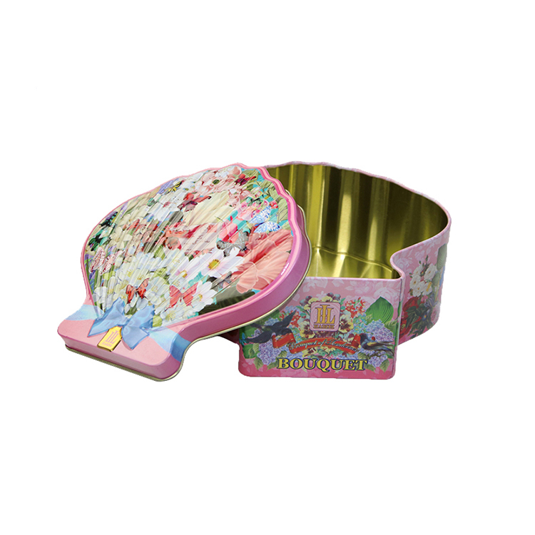 Customizedmetal seashell shape gift tin box for necklace bracelet earring storage container