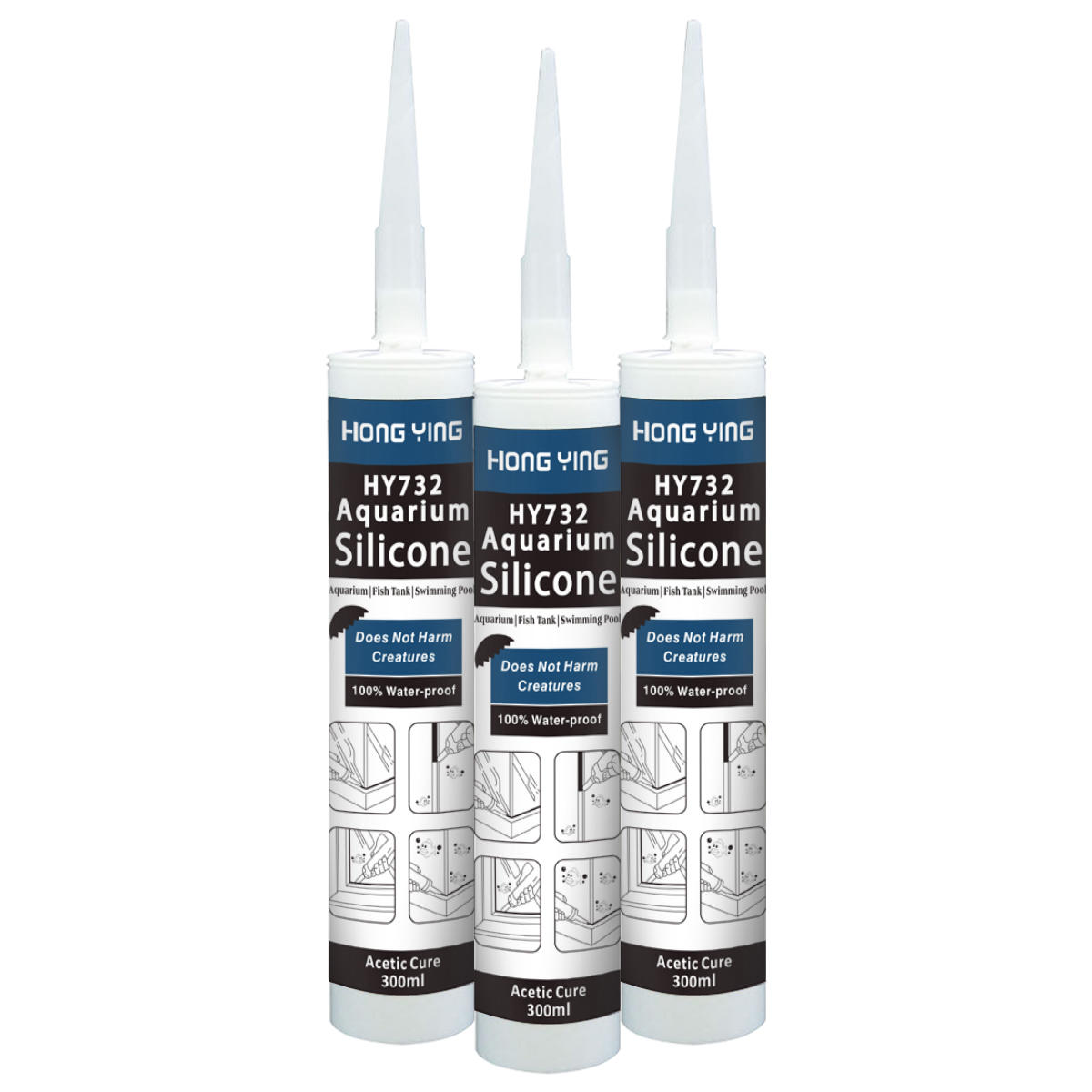 Acetic 100%Silicone Sealant for Large Glass Plane and Aquarium