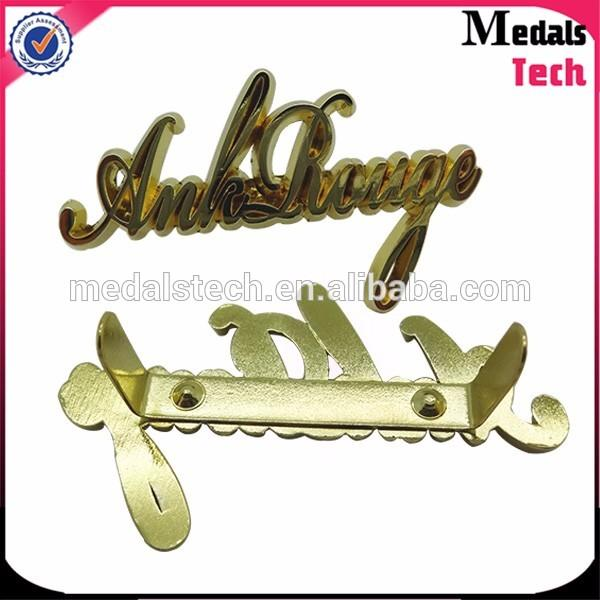 Fashion casting shiny gold square metal metal plates for clothing decorative nameplates