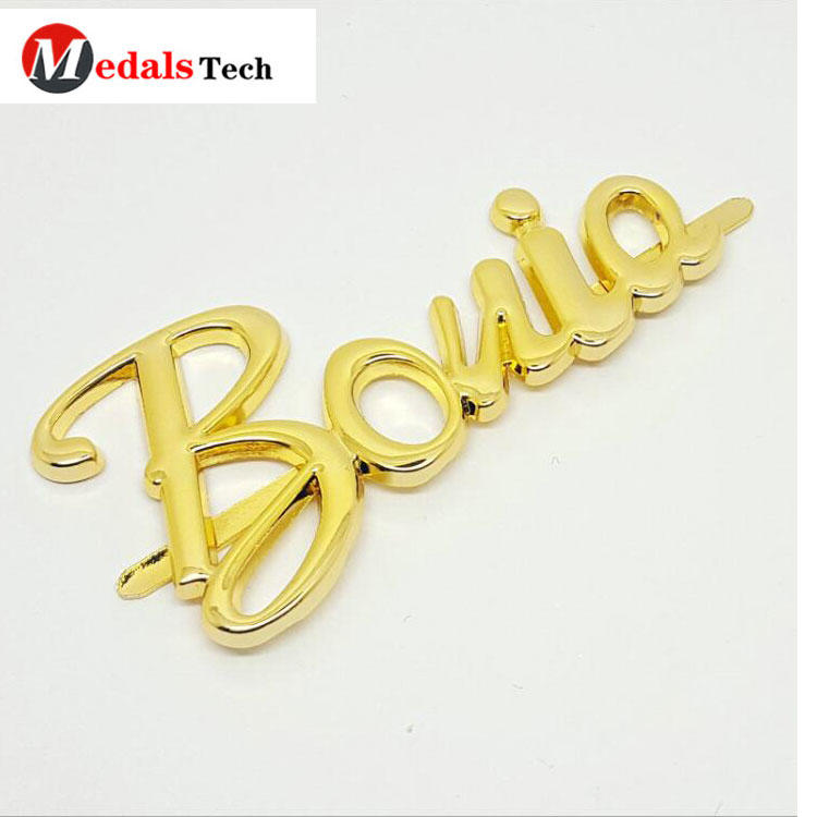 Fashion custom gold engraved logo mini metal brand label