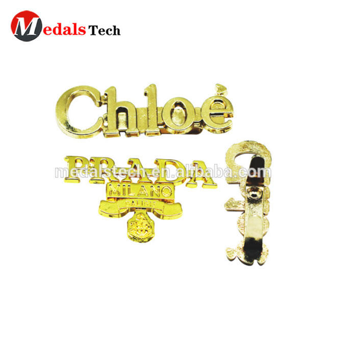 China wholesales bag parts and accessories brand metal logo handbag name plate in bulk