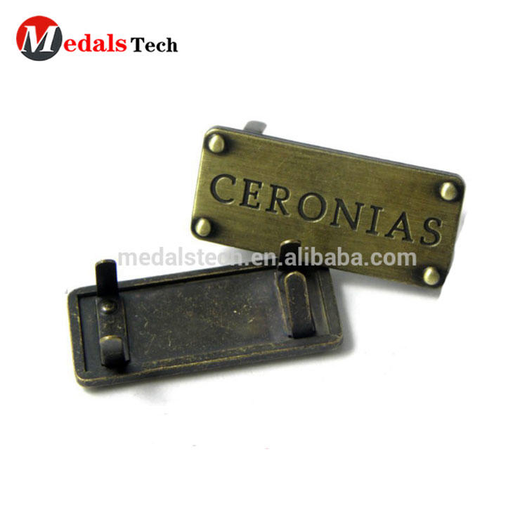 Free design custom quality metal stamping engraved name logo for shoes clothes handbag