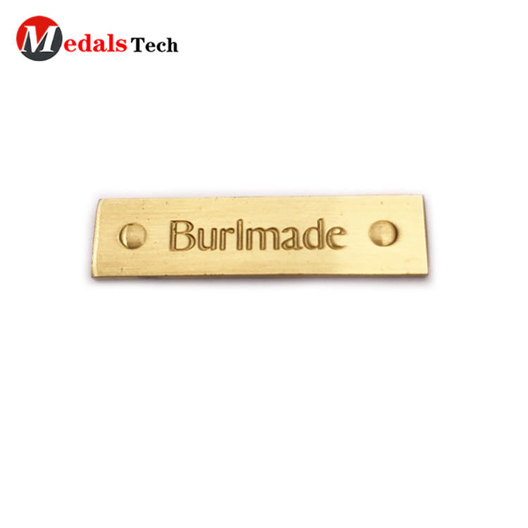 Cheap promotion gold plating thin engraved logo small metal plates