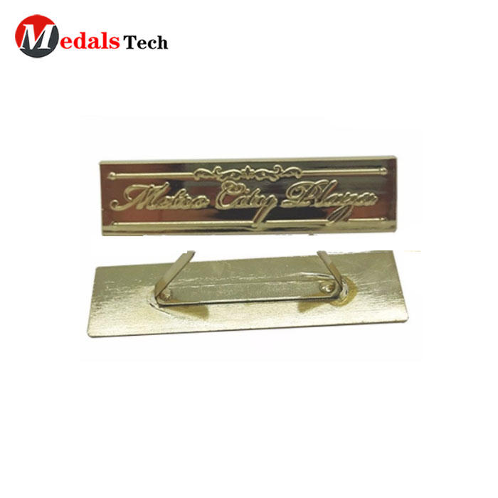 Nice looking cheap plating gold soft enamel nameplate for decoration